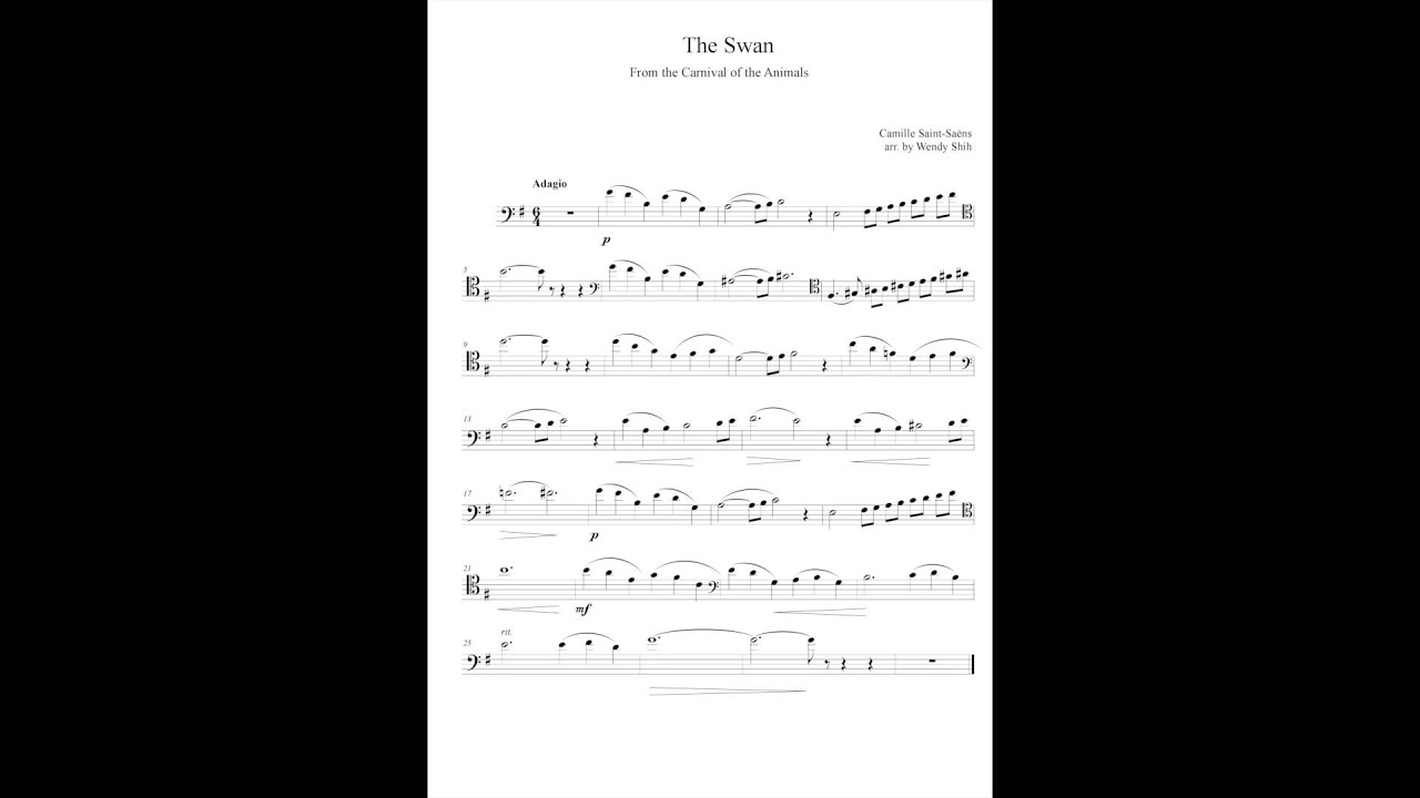 The Swan Cello and Piano Sheet Music - YouTube