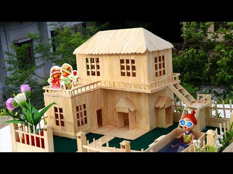 How to Make Popsicle Stick House - Popsicle Garden Villa - DIY Fairy House