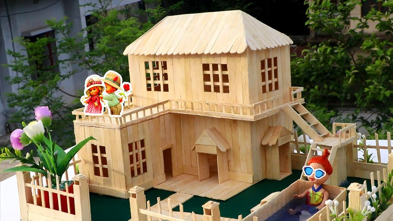 how to make popsicle stick house - popsicle garden villa - diy