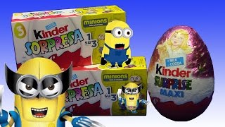 Minions Surprise Eggs + Kinder Surprise MAXI !!! SURPRISE TOYS Huevos Sorpresa !!