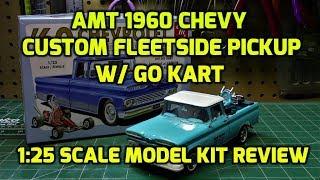 AMT 1960 Chevy Custom Fleetside Pickup Go Kart 1/25 Scale Model Kit Build Review AMT1063