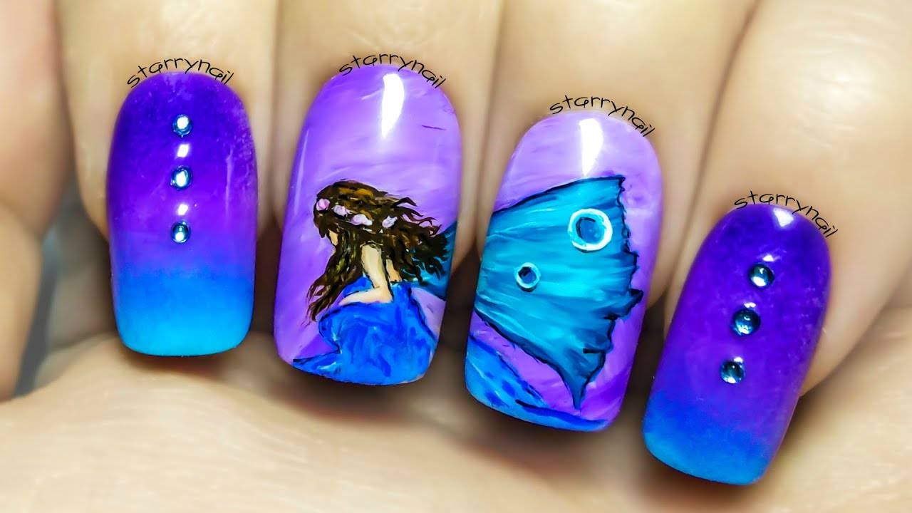 Blue Fairy  Freehand Nail Art Tutorial - YouTube