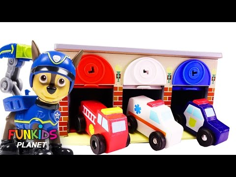 Thumbnail: Learn Colors Videos: Paw Patrol Skye & Chase Lock N Roll Rescue Garage Police Car Fire truck