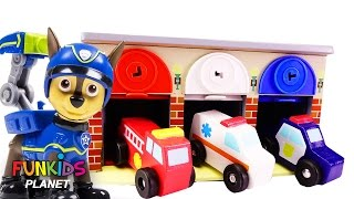 Learn Colors Videos: Paw Patrol Skye & Chase Lock N Roll Rescue Garage Police Car Fire truck