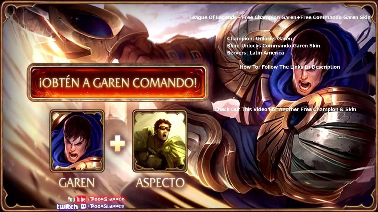 FREE Champion U0026 Skin   Commando Garen Skin   LoL   YouTube