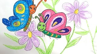 Painting animals for kids | How to draw a beautiful butterfly on flower for kids | Art for kids