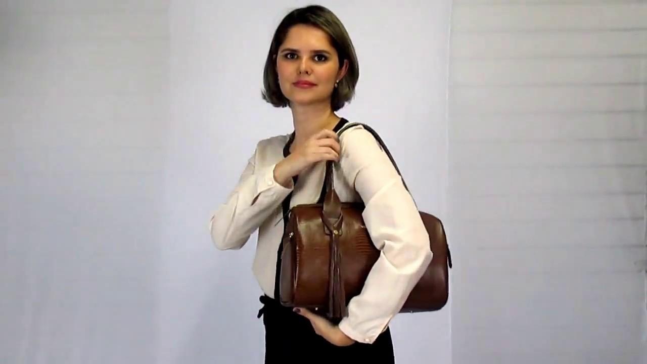 1d637f478 Bolsa Feminina Baú Bowling em Couro ARZON - YouTube