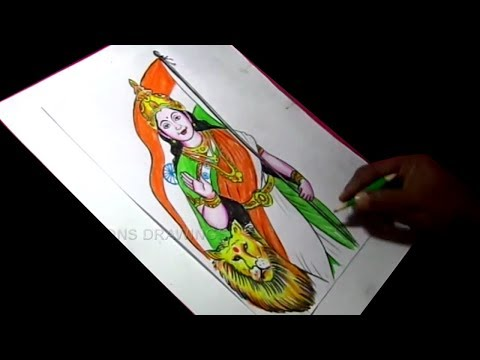 How to Draw bharat mata Detailed Color Drawing for Kids