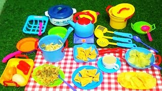 MINI BLUE KITCHEN SET WITH REAL FOOD PASTA COOKING ,SNACKS AND TEA FOR KIDS