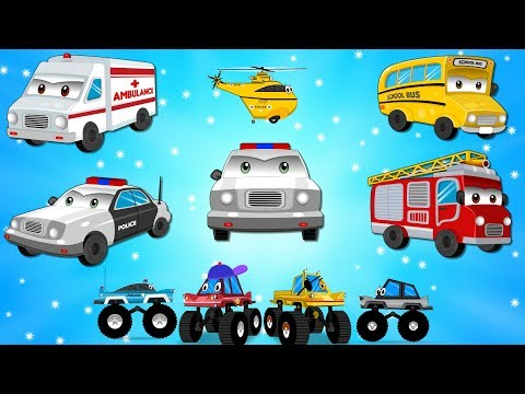 Ben the Fire truck with Police car ambulance & Helicopter in Car City - Cartoons for Kids