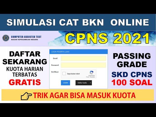 Simulasi Cat Bkn 2021 Gratis Tes Skd Cpns Twk Tiu Tkp Youtube