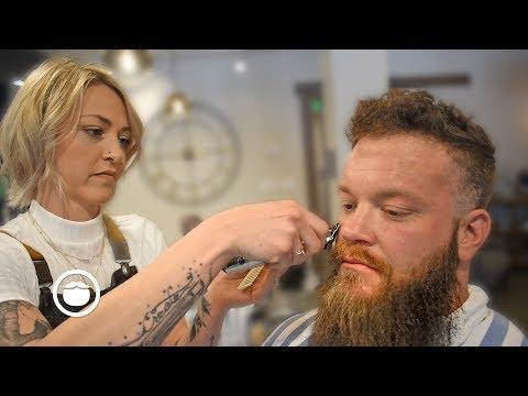 Sarah Marie Trims Her Husband's Big & Burly Beard | Garrett Michael Barbershop