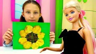 Осенние поделки из семечек с Барби: подсолнухи