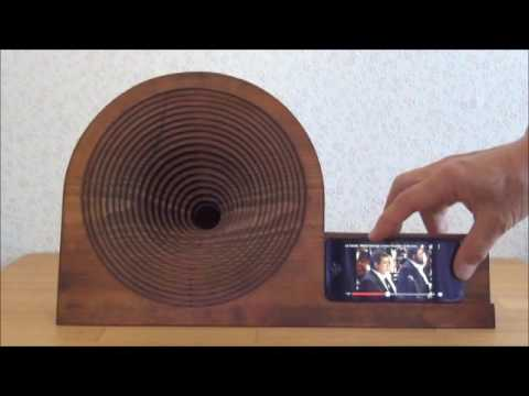 Wooden iphone acoustic Speaker(Stand)8 ラッパ付きiphoneスタンド8