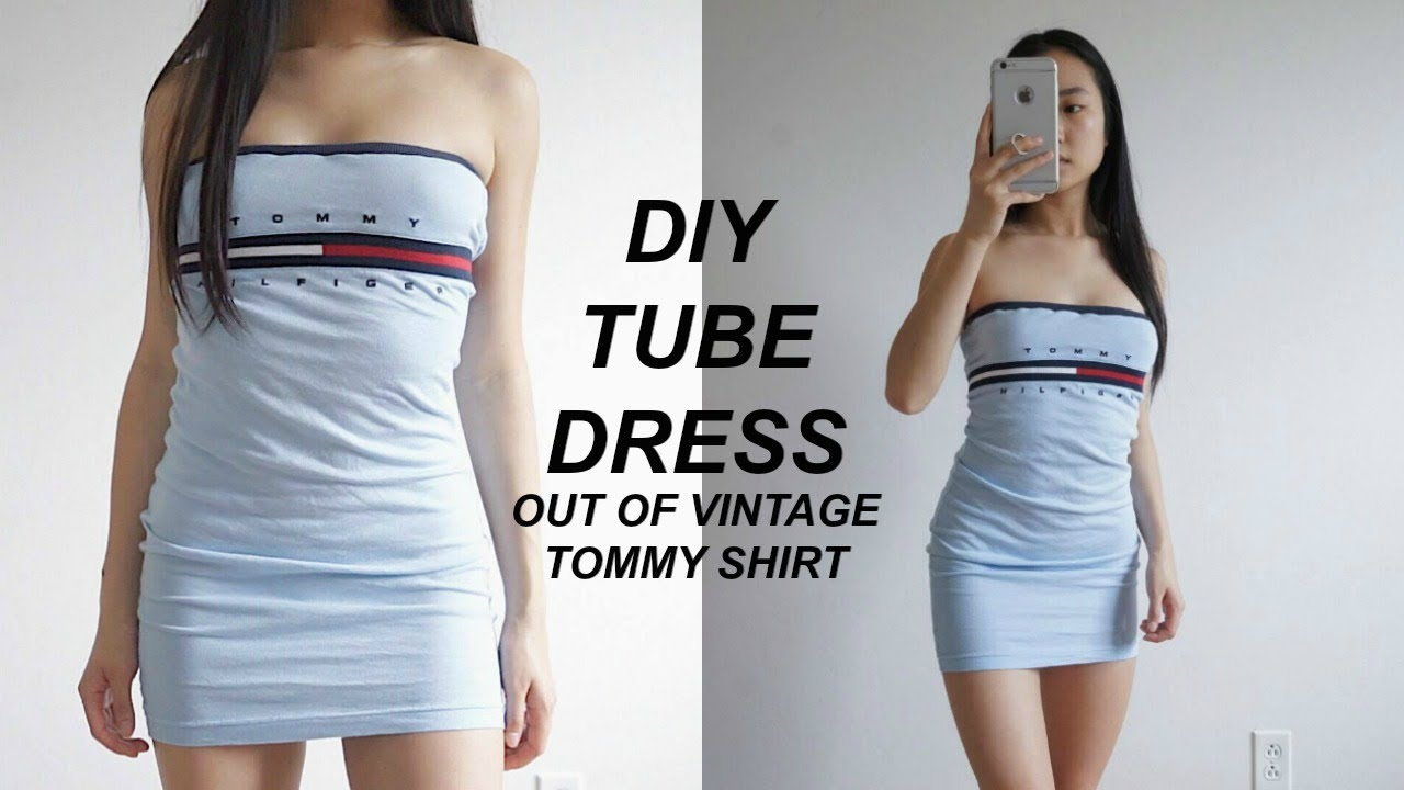 2179338d1a280 DIY TOMMY HILFIGER BODYCON TUBE DRESS from XLARGE SHIRT ...