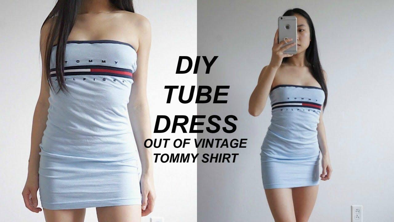 c68bc8b0 DIY TOMMY HILFIGER BODYCON TUBE DRESS from XLARGE SHIRT | TOMMYREWORK |  THATTOMMYGIRL