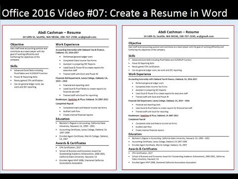 Office 2016 Video #07: Create a Resume in Word