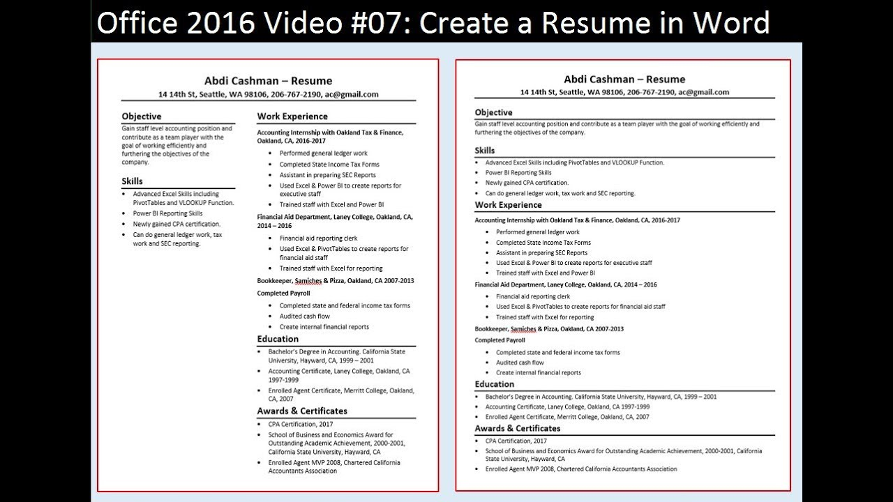 Office 2016 Video #07: Create a Resume in Word - YouTube