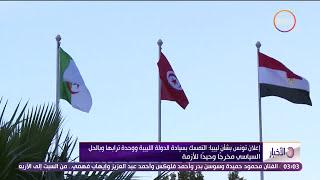 الأخبار - إعلان تونس: التمسك بسيادة الدولة الليبية ووحدة ترابها وبالحل السياسي مخرجاً وحيداً للأزمة
