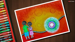 Raksha Bandhan drawing with Oil Pastels and colour pencils - step by step