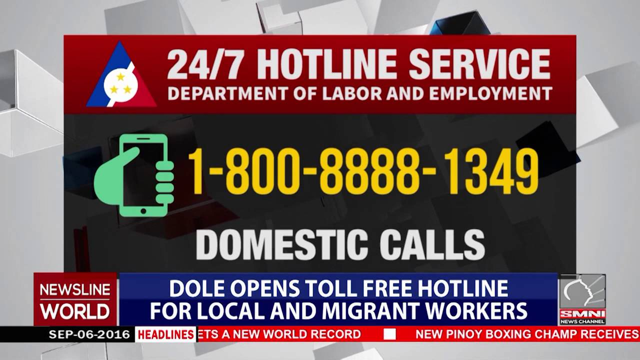 Dole Opens Tollfree Hotline For Local And Migrant Workers Youtube