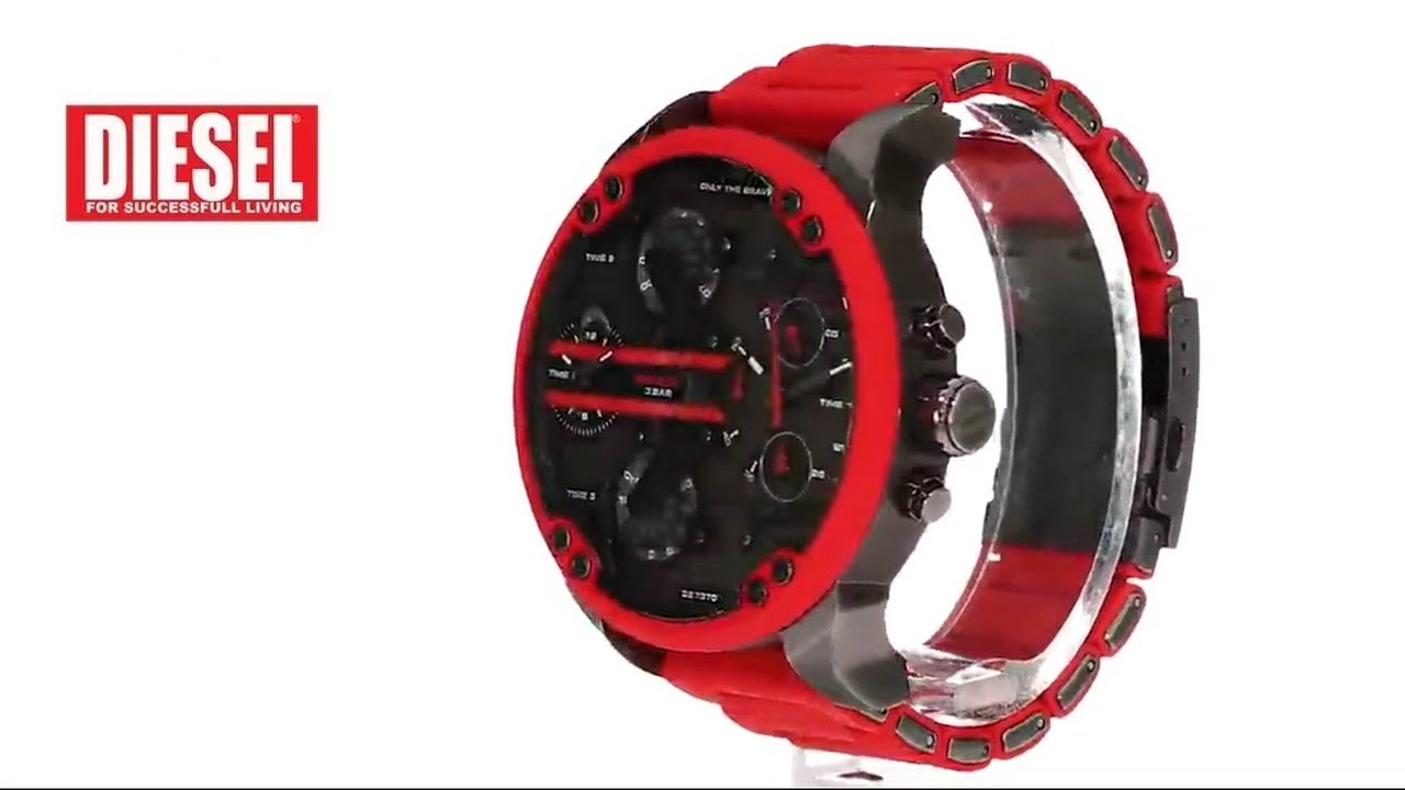 788e0af21232 Diesel Men s DZ7370 Mr.Daddy 2.0 Stainless Steel Red Watch - YouTube
