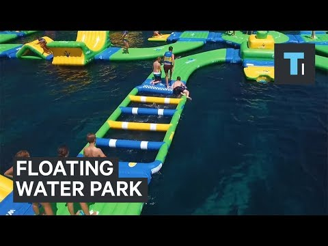 Thumbnail: This inflatable playground floats on the water