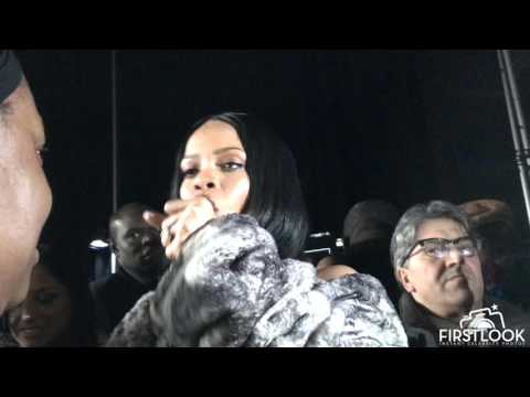 EXCLUSIVE: Rihanna backstage having a BLAST at FENTY x PUMA Fashion Show