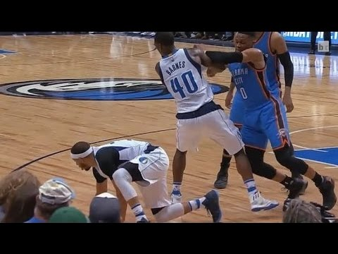 Russell Westbrook ATTACKS Harrison Barnes and Seth Curry