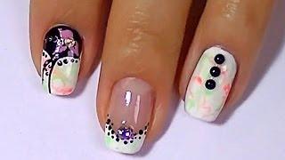 Дизайн ногтей: розовый и салатовый неон. Красивый маникюр.