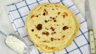 Pan plano sin horno, a la sartén ¡Con solo dos ingredientes!