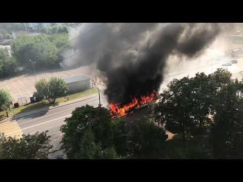 Сгорел автобус в Москве рядом с метром Красногвардейская!