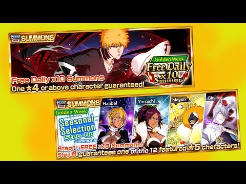 Bleach Brave Souls: STEP-UP Summons GOLDEN WEEK!!! Sazonal Selection e 10X Free TODO DIA!!! - Omega Play