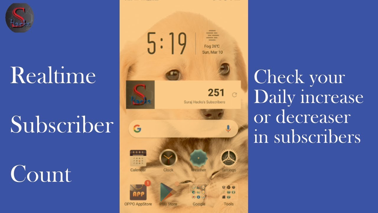 suscriber count in mobile home screen, subscriber count, how to add subscriber count in mobile home screen,add subscriber count