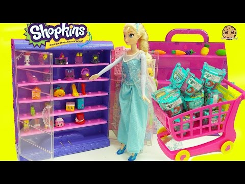 Thumbnail: Glow In The Dark Shopkins + Frozen Queen Elsa Shopping For Surprise Blind Bags