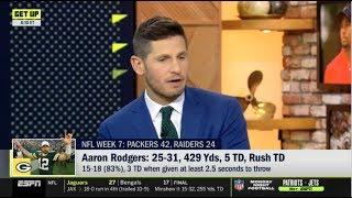 ESPN GET UP | Dan Orlovsky SHOCKED by Packers def. Raiders 42-24; Aaron Rodgers: 25-31,429 Yds, 5TD