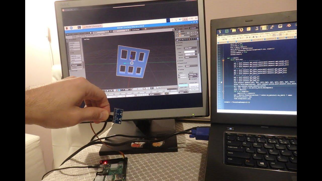 Raspberry Pi + MPU-9250 + Blender