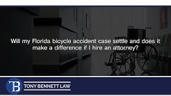 Will my Florida bicycle accident case settle and does it make a difference if I hire an attorney?