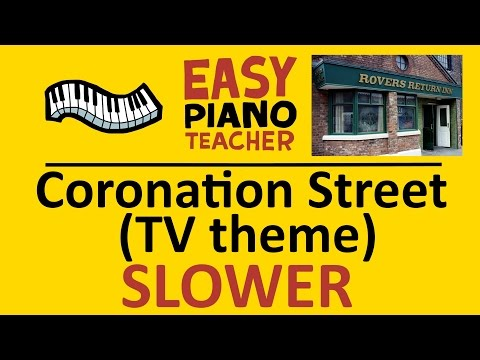 How to play Coronation Street (TV theme): EASY keyboard song! (SLOW Piano tutorial with note names)