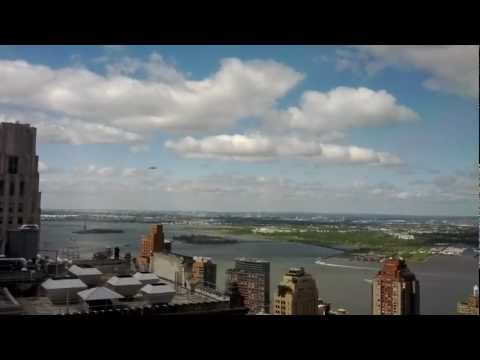 Space Shuttle Enterprise on 747 over Statue of Liberty from Downtown Manhattan 45th Floor