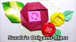 Origami - Camellia Flower & Leaf / 종이접기 - 동백꽃과 나뭇잎