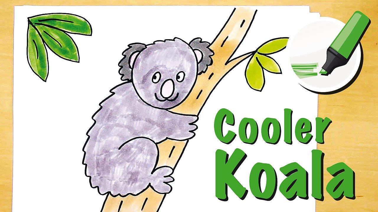 Koala Zeichnen Lernen How To Draw A Koala Cartoon Youtube