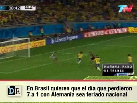 Proponen que el día que Brasil perdió 7 a 1 con Alemania sea feriado