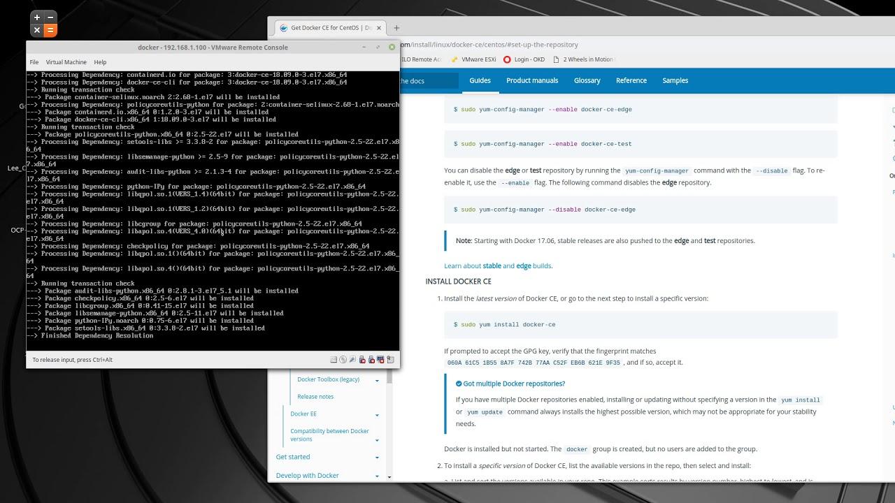 Lee's Linux install docker ce on minimal centos