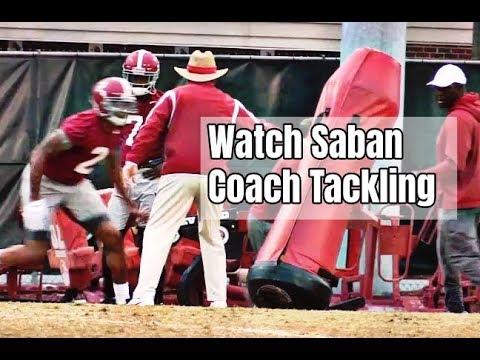 Watch Nick Saban Coach Tackling Drills During Alabama Football Practice