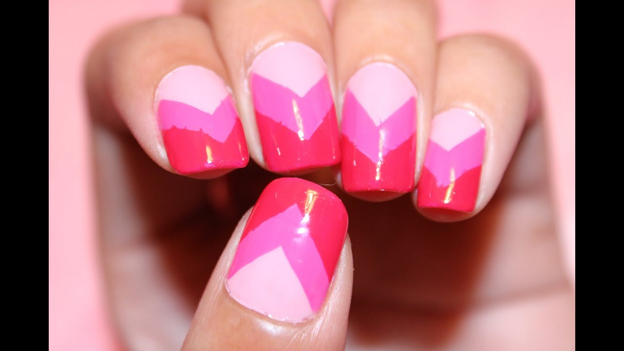 Pink Ombre Chevron Nails | Dee2102 - YouTube