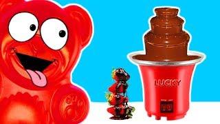 Schokobrunnen voller Schokolade für den Lucky Bär
