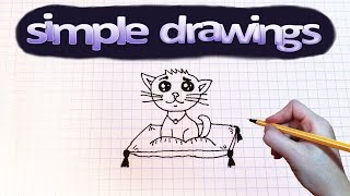 Simple drawings #17 How to draw a cat on a pillow