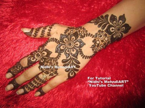 Henna Mehndi S : Pretty gulf style floral full back hand henna mehndi design tutorial