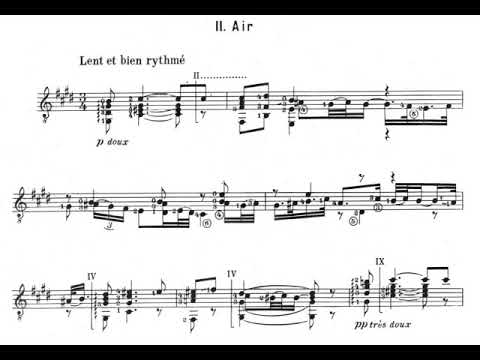 Frank Martin - Quatre Pieces Breves for Guitar (1933) [Score-Video]